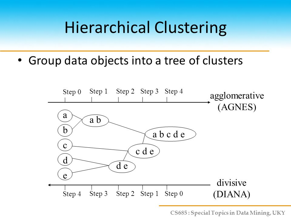 CS685 : Special Topics in Data Mining, UKY AGNES (Agglomerative Nesting) Initially, each object is a cluster Step-by-step cluster merging, until all objects form a cluster – Single-link approach – Each cluster is represented by all of the objects in the cluster – The similarity between two clusters is measured by the similarity of the closest pair of data points belonging to different clusters