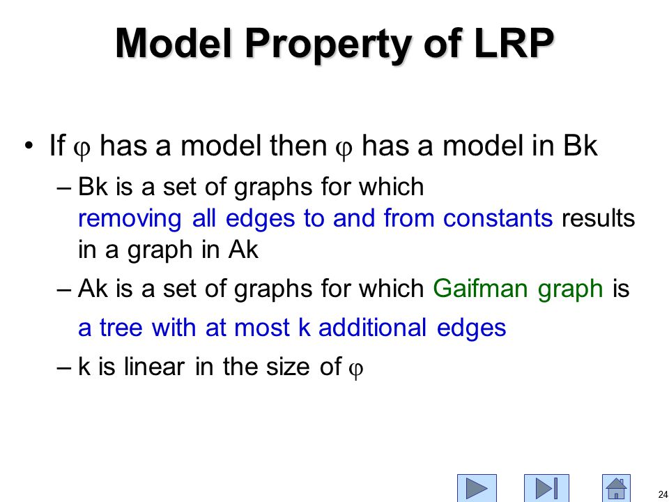 24 Model Property of LRP If  has a model then  has a model in Bk –Bk is a set of graphs for which removing all edges to and from constants results in a graph in Ak –Ak is a set of graphs for which Gaifman graph is a tree with at most k additional edges –k is linear in the size of 
