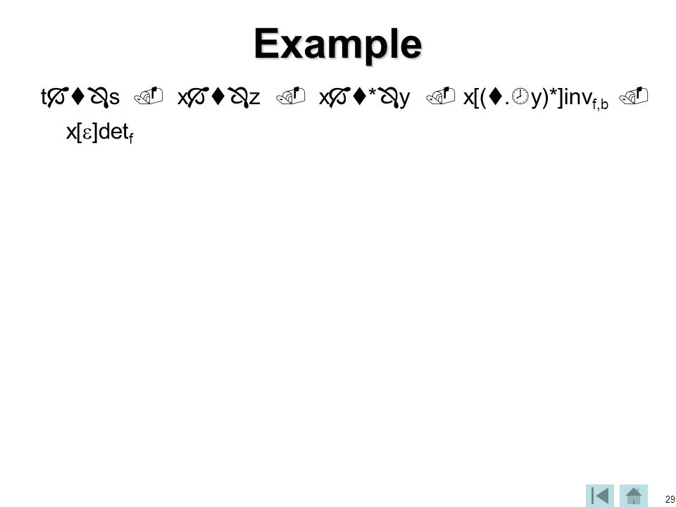 29Example t  s  x  z  x  *  y  x[( .  y)*]inv f,b  x[  ]det f