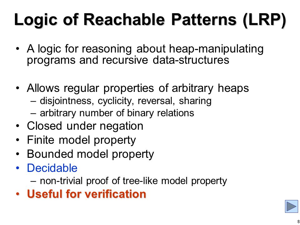39 More Related Work Modal Logics –have tree model property (no equality) Hybrid Logics –equality only between named nodes –cannot express deterministic edge Description Logics –DL with nominals, deterministic roles and inverse roles is undecidable