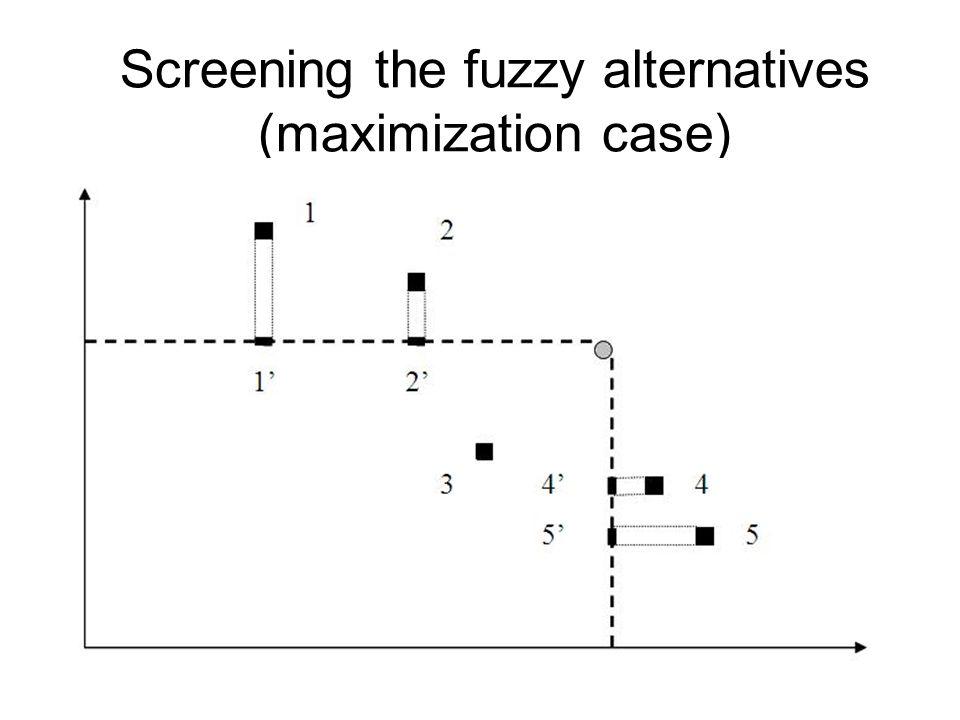 Screening the fuzzy alternatives (maximization case)