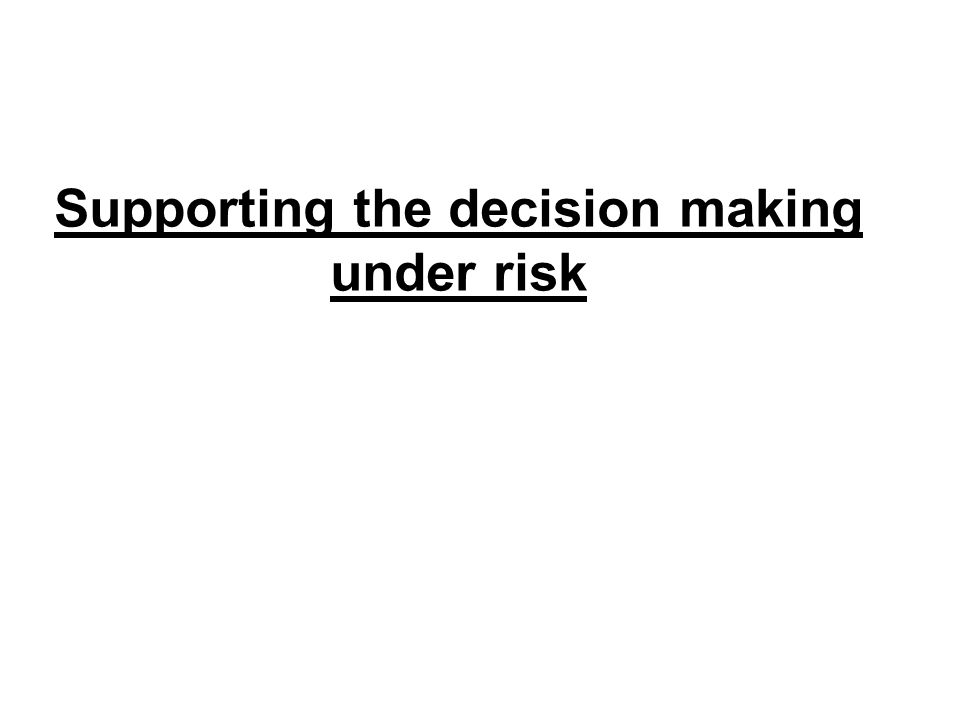 Supporting the decision making under risk