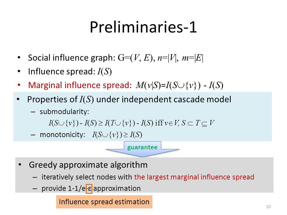 10 Preliminaries-1 Social influence graph: G=(V, E), n=|V|, m=|E| Influence spread: I(S) Marginal influence spread: M(v|S) = I(S  {v}) - I(S) guarant