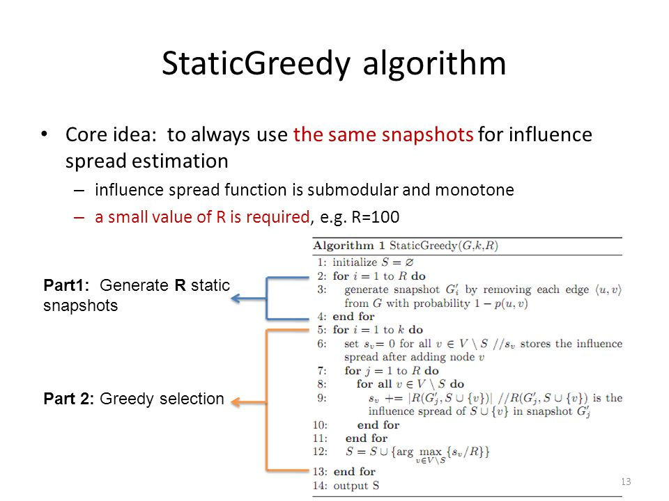 13 StaticGreedy algorithm Core idea: to always use the same snapshots for influence spread estimation – influence spread function is submodular and mo