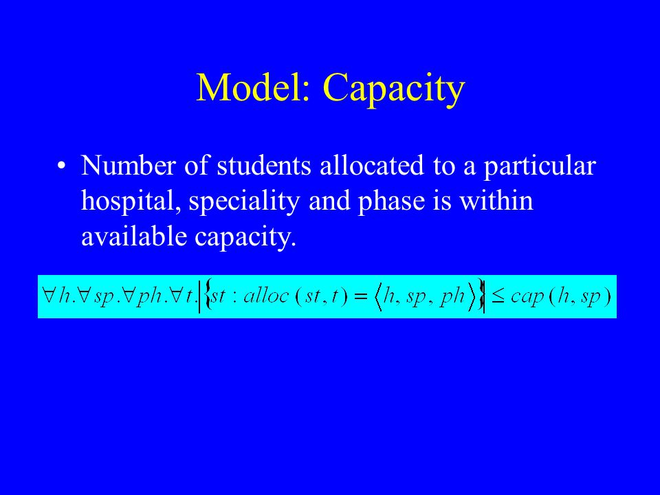 Model: Capacity Number of students allocated to a particular hospital, speciality and phase is within available capacity.
