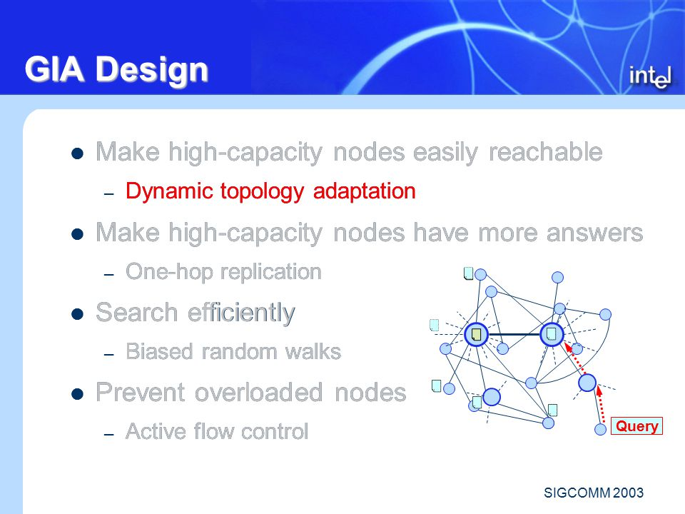 SIGCOMM 2003 Make high-capacity nodes easily reachable – Dynamic topology adaptation Make high-capacity nodes have more answers – One-hop replication Search efficiently – Biased random walks Prevent overloaded nodes – Active flow control Make high-capacity nodes easily reachable – Dynamic topology adaptation Make high-capacity nodes have more answers – One-hop replication Search efficiently – Biased random walks Prevent overloaded nodes – Active flow control GIA Design Query