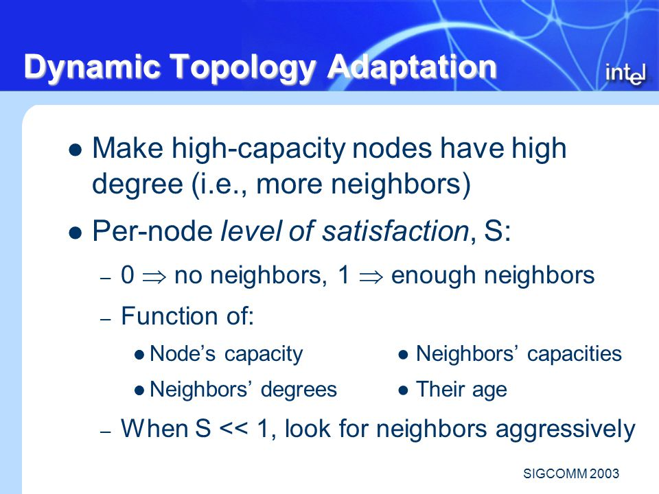 SIGCOMM 2003 Dynamic Topology Adaptation Make high-capacity nodes have high degree (i.e., more neighbors) Per-node level of satisfaction, S: – 0  no neighbors, 1  enough neighbors – Function of: Node's capacity● Neighbors' capacities Neighbors' degrees● Their age – When S << 1, look for neighbors aggressively