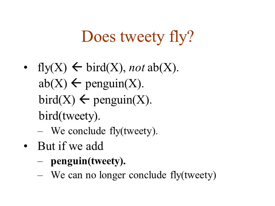 Does tweety fly. fly(X)  bird(X), not ab(X). ab(X)  penguin(X).