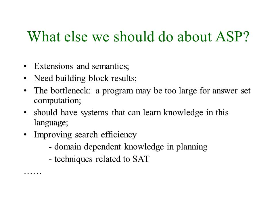 What else we should do about ASP.