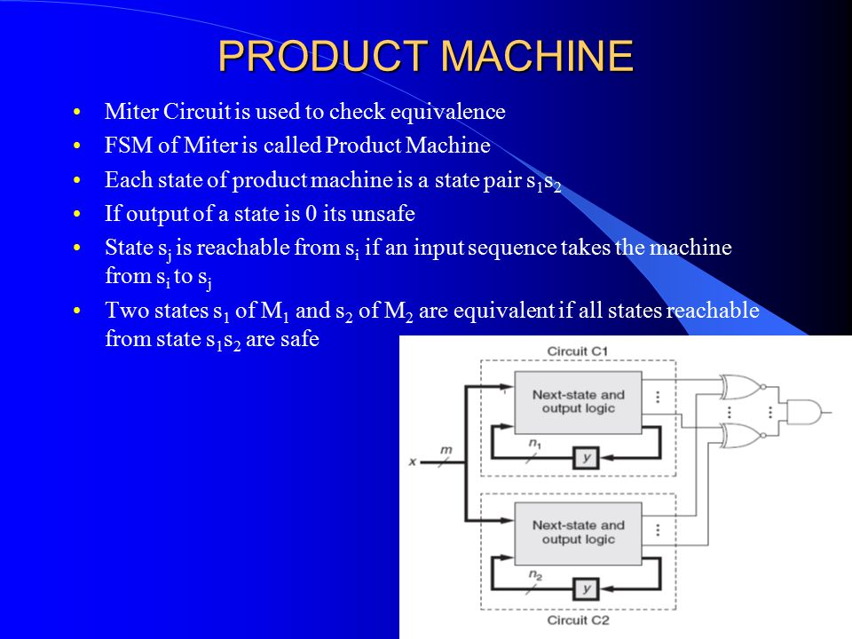 PRODUCT MACHINE Miter Circuit is used to check equivalence FSM of Miter is called Product Machine Each state of product machine is a state pair s 1 s 2 If output of a state is 0 its unsafe State s j is reachable from s i if an input sequence takes the machine from s i to s j Two states s 1 of M 1 and s 2 of M 2 are equivalent if all states reachable from state s 1 s 2 are safe