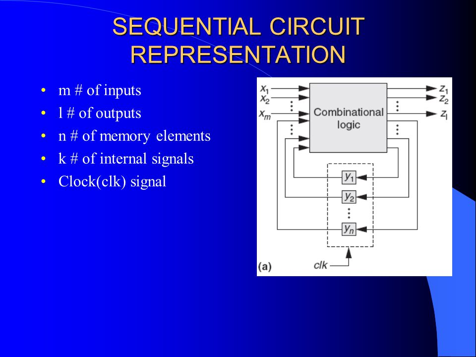 SEQUENTIAL CIRCUIT REPRESENTATION m # of inputs l # of outputs n # of memory elements k # of internal signals Clock(clk) signal