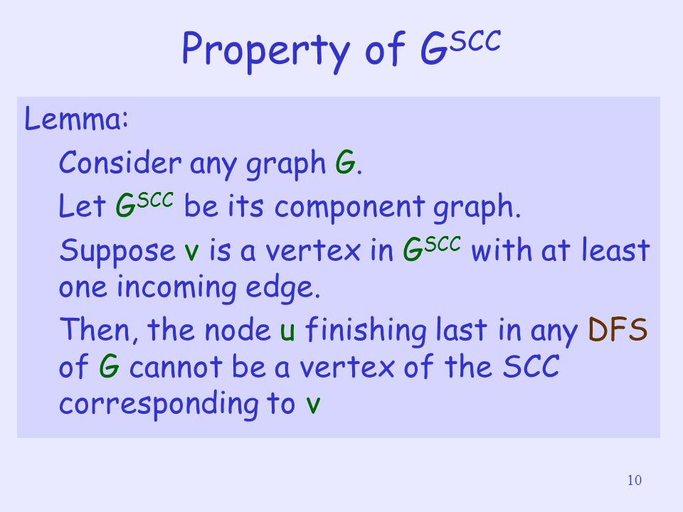 10 Property of G SCC Lemma: Consider any graph G. Let G SCC be its component graph.