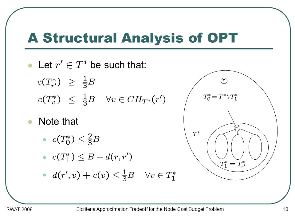 SWAT 2008 Bicriteria Approximation Tradeoff for the Node-Cost Budget Problem 10 A Structural Analysis of OPT Let be such that: Note that