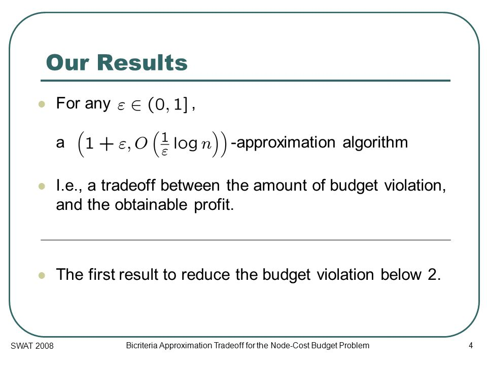 SWAT 2008 Bicriteria Approximation Tradeoff for the Node-Cost Budget Problem 5 Previous Work Upper Bounds -approximation [Guha, Moss, Naor, Schieber 1999] -approximation [Moss, Rabani 2001] Lower Bounds Generalizes Budgeted Maximum Coverage Not approximable to within unless [Khuller, Moss, Naor 1999]