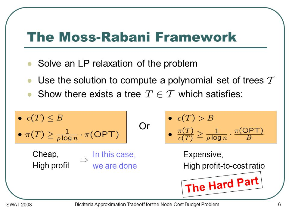 SWAT 2008 Bicriteria Approximation Tradeoff for the Node-Cost Budget Problem 6 The Moss-Rabani Framework Solve an LP relaxation of the problem Use the solution to compute a polynomial set of trees Show there exists a tree which satisfies: Or Cheap, High profit Expensive, High profit-to-cost ratio In this case, we are done  The Hard Part