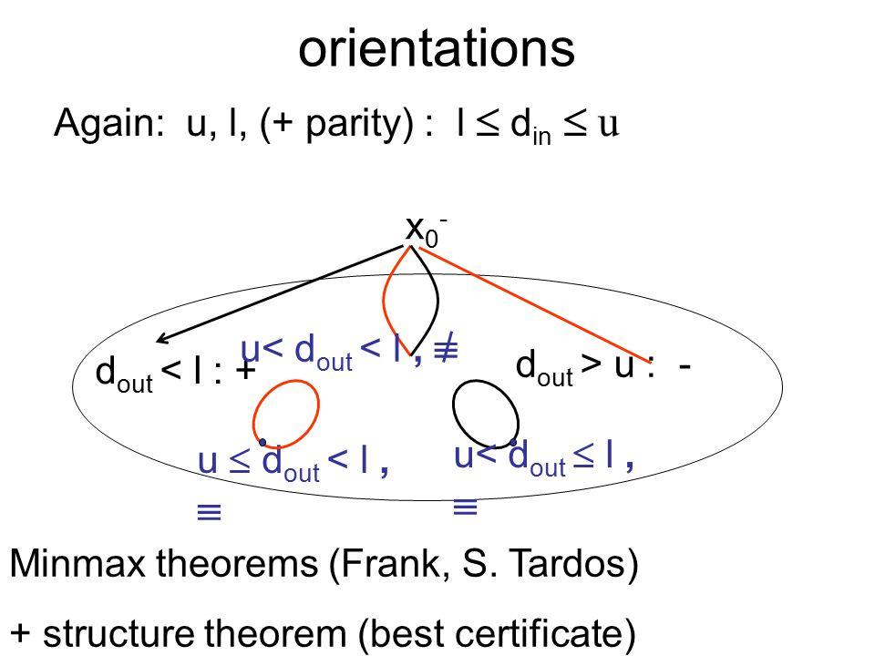 orientations Again: u, l, (+ parity) : l  d in  u x0-x0- d out < l : + d out > u : - u< d out < l,  u  d out < l,  u< d out  l,  Minmax theorems (Frank, S.