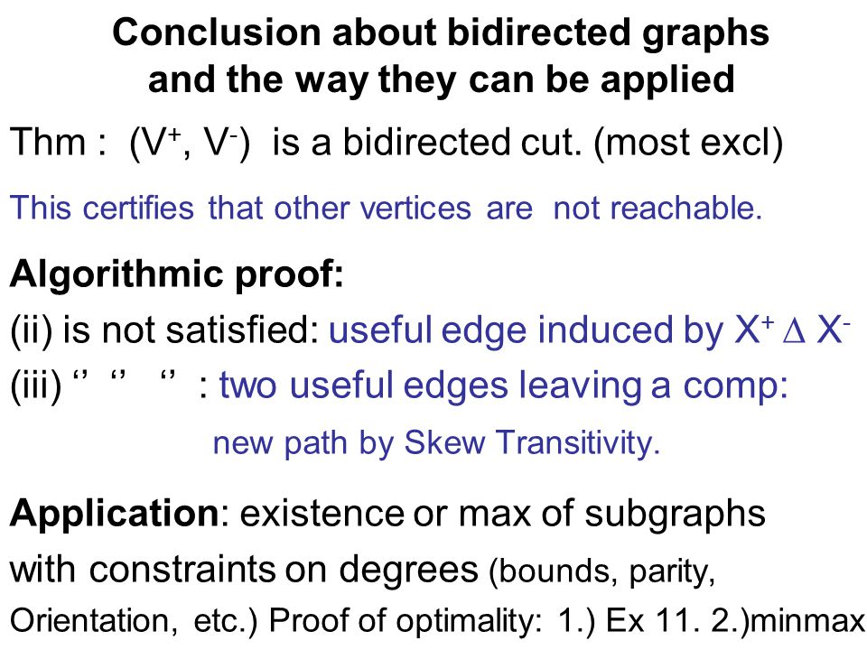 Conclusion about bidirected graphs and the way they can be applied Thm : (V +, V - ) is a bidirected cut.