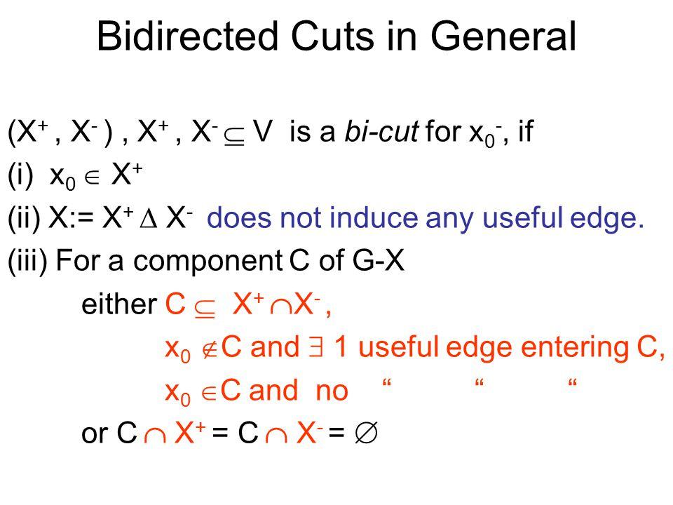 Bidirected Cuts in General (X +, X - ), X +, X -  V is a bi-cut for x 0 -, if (i) x 0  X + (ii) X:= X +  X - does not induce any useful edge.