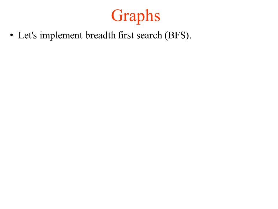 Graphs Let s implement breadth first search (BFS).