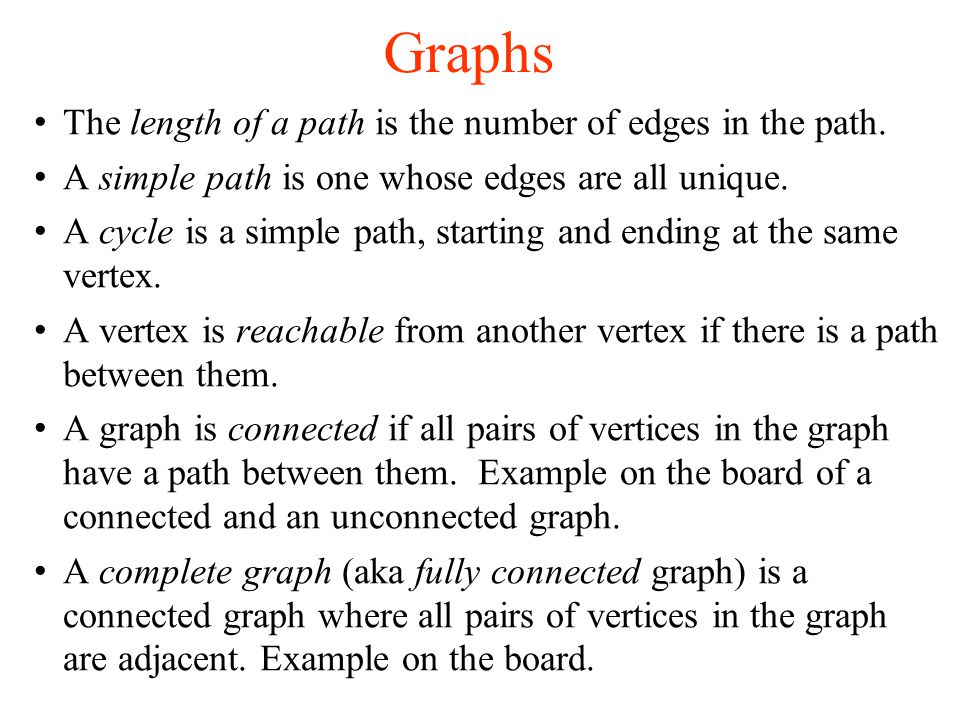 Graphs Connectivity of a digraph –A digraph is strongly connected if there is a path from any vertex to any other vertex (following the directions of the edges) –A digraph is weakly connected if in its underlying undirected graph, there is a path from any vertex to any other vertex Degree of a vertex in a digraph –In-degree of a vertex is the number of edges entering the vertex –Out-degree of a vertex is the number of edges leaving the vertex