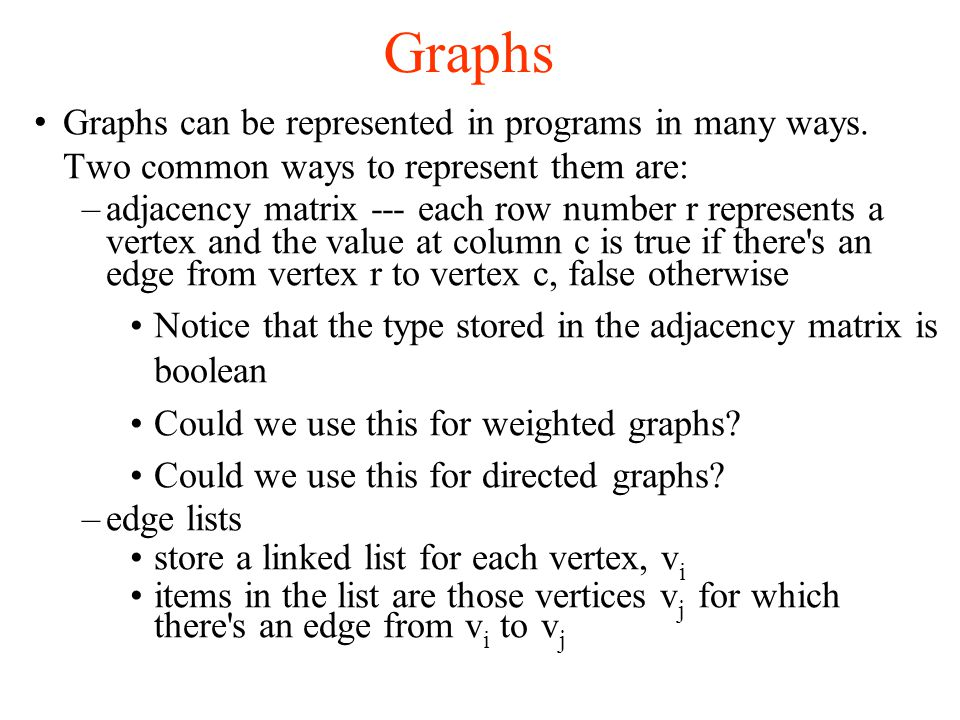 Graphs Graphs can be represented in programs in many ways.