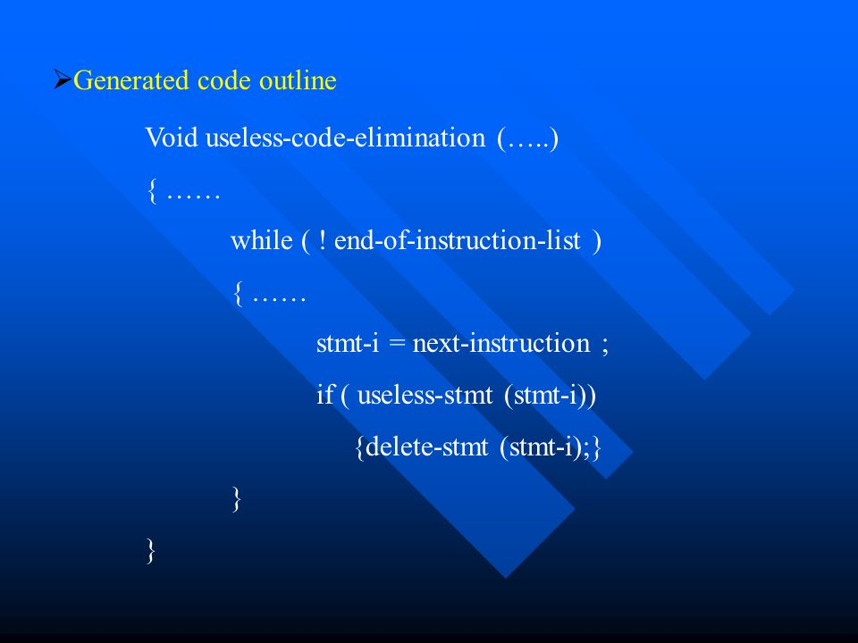   Generated code outline Void useless-code-elimination (…..) { …… while ( .