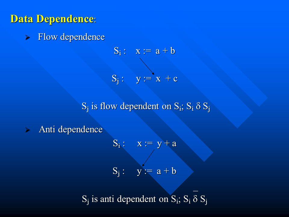 Data Dependence :  Flow dependence S i : x := a + b S j : y := x + c S j is flow dependent on S i ; S i  S j S j is flow dependent on S i ; S i  S j  Anti dependence S i : x := y + a S j : y := a + b S j is anti dependent on S i ; S i  S j _