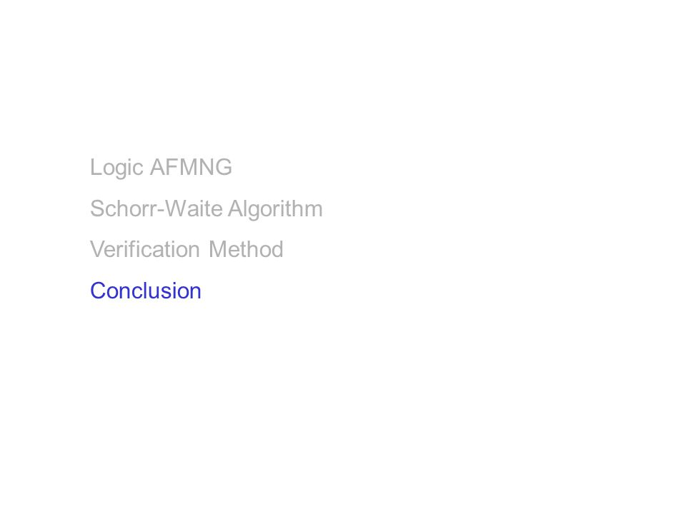 Logic AFMNG Schorr-Waite Algorithm Verification Method Conclusion