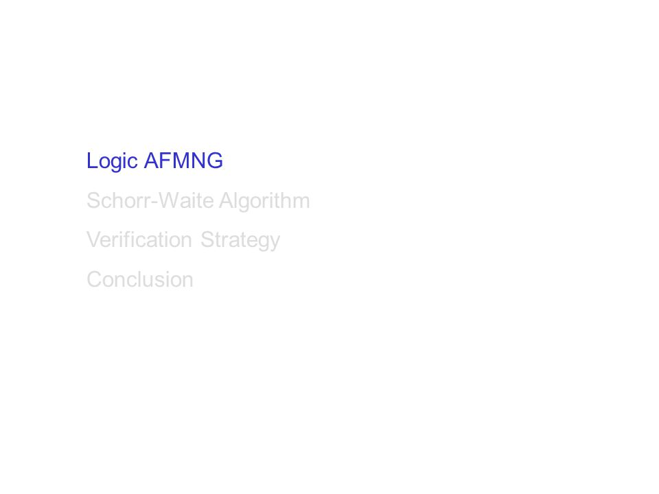 Logic AFMNG Schorr-Waite Algorithm Verification Strategy Conclusion