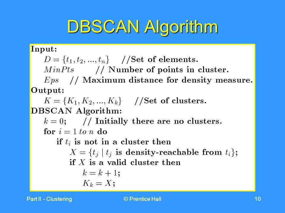 Part II - Clustering© Prentice Hall10 DBSCAN Algorithm