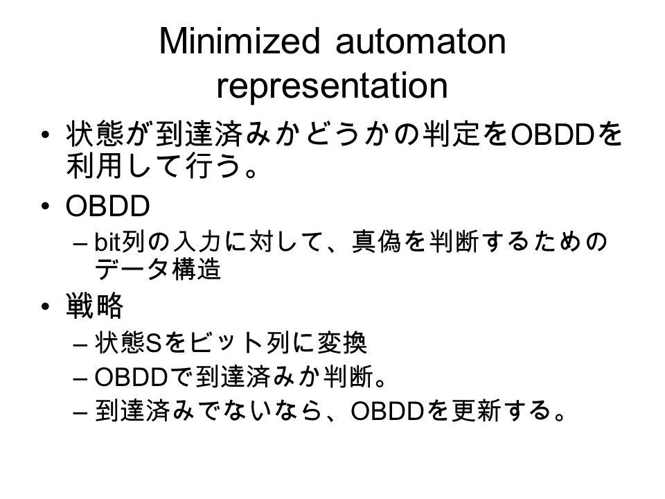 Minimized automaton representation 状態が到達済みかどうかの判定を OBDD を 利用して行う。 OBDD –bit 列の入力に対して、真偽を判断するための データ構造 戦略 – 状態 S をビット列に変換 –OBDD で到達済みか判断。 – 到達済みでないなら、