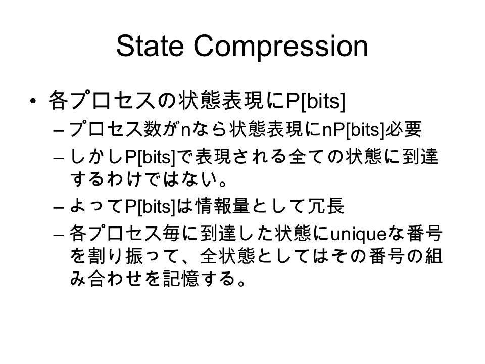 State Compression 各プロセスの状態表現に P[bits] – プロセス数が n なら状態表現に nP[bits] 必要 – しかし P[bits] で表現される全ての状態に到達 するわけではない。 – よって P[bits] は情報量として冗長 – 各プロセス毎に到達した状態に u