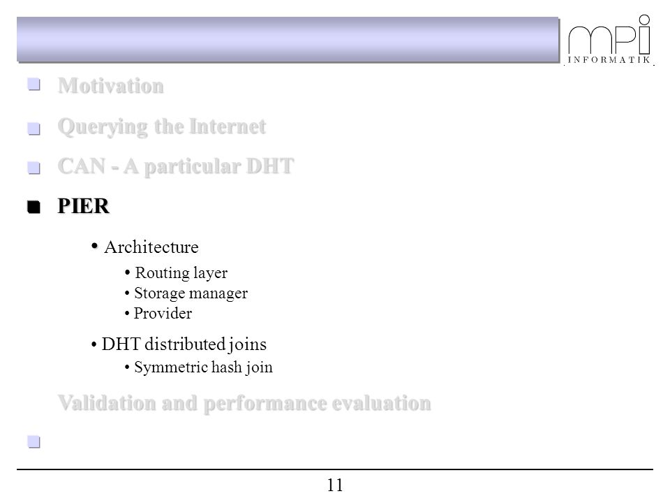 Motivation Querying the Internet CAN - A particular DHT PIER Architecture Routing layer Storage manager Provider DHT distributed joins Symmetric hash join Validation and performance evaluation 11