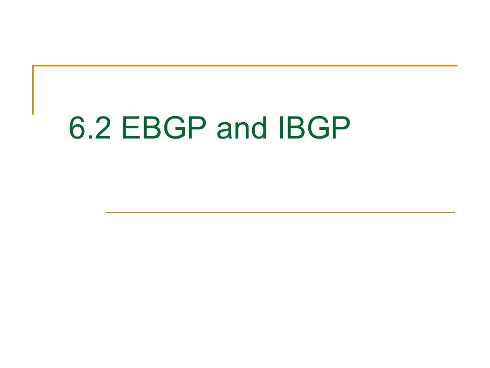 6.2 EBGP and IBGP