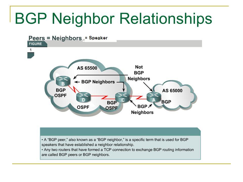 BGP Neighbor Relationships