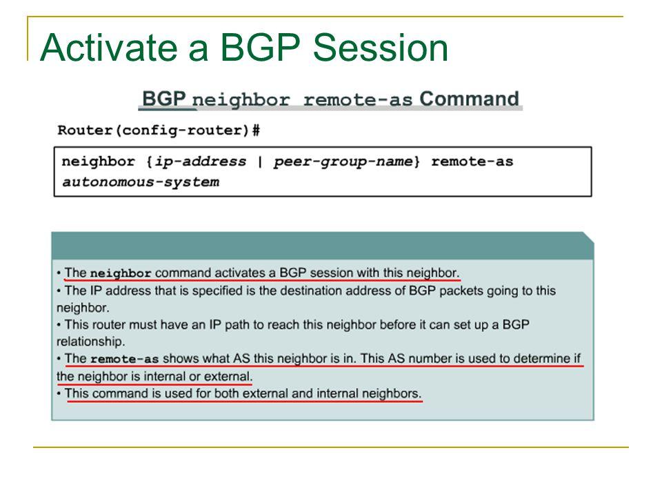 Activate a BGP Session