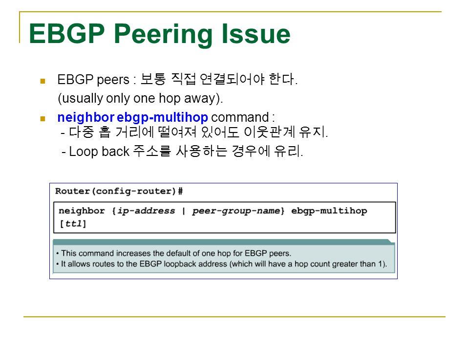 EBGP Peering Issue EBGP peers : 보통 직접 연결되어야 한다. (usually only one hop away).