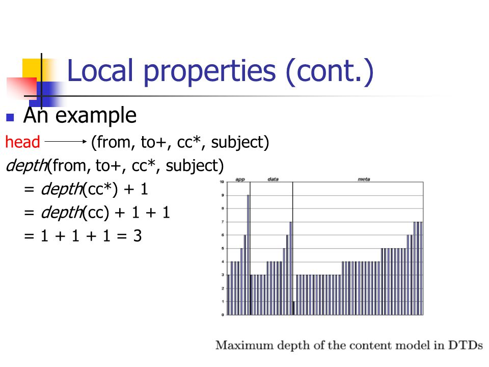 Local properties (cont.) An example head (from, to+, cc*, subject) depth(from, to+, cc*, subject) = depth(cc*) + 1 = depth(cc) + 1 + 1 = 1 + 1 + 1 = 3