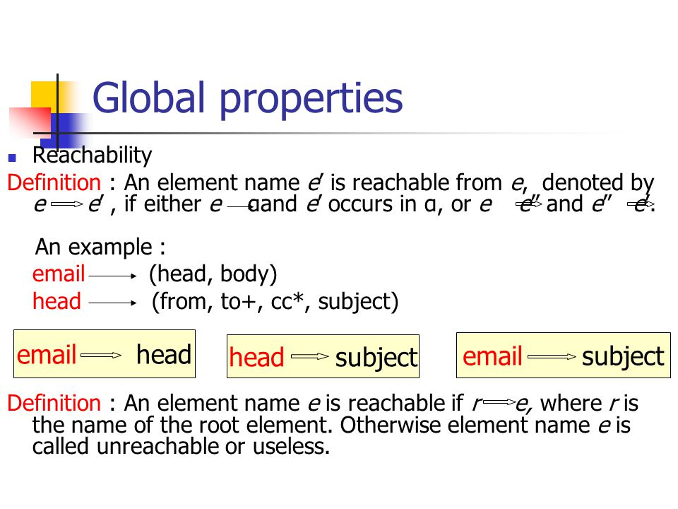 Global properties Reachability Definition : An element name e' is reachable from e, denoted by e e', if either e αand e' occurs in α, or e e and e e'.