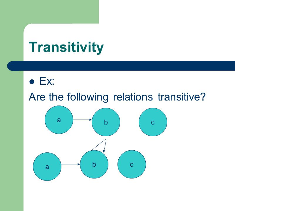 Transitivity Ex: Are the following relations transitive a bc bc a