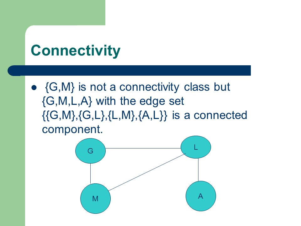 Connectivity {G,M} is not a connectivity class but {G,M,L,A} with the edge set {{G,M},{G,L},{L,M},{A,L}} is a connected component.