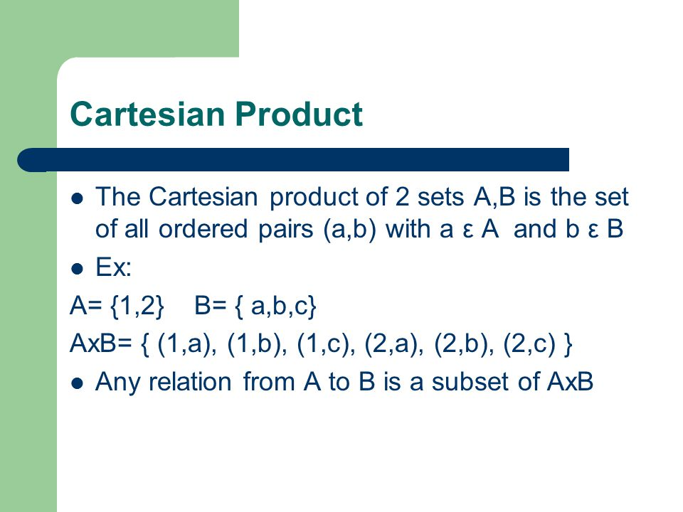 Cartesian Product The Cartesian product of 2 sets A,B is the set of all ordered pairs (a,b) with a ε A and b ε B Ex: A= {1,2} B= { a,b,c} AxB= { (1,a), (1,b), (1,c), (2,a), (2,b), (2,c) } Any relation from A to B is a subset of AxB