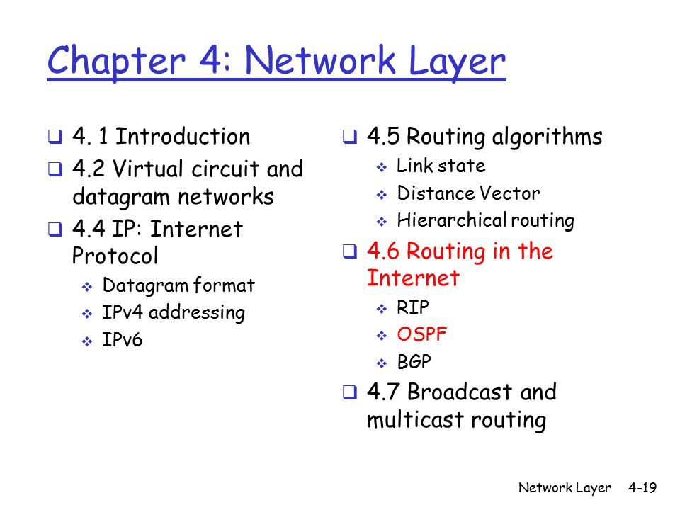Network Layer4-19 Chapter 4: Network Layer  4.