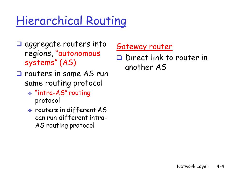 Network Layer4-4 Hierarchical Routing  aggregate routers into regions, autonomous systems (AS)  routers in same AS run same routing protocol  intra-AS routing protocol  routers in different AS can run different intra- AS routing protocol Gateway router  Direct link to router in another AS