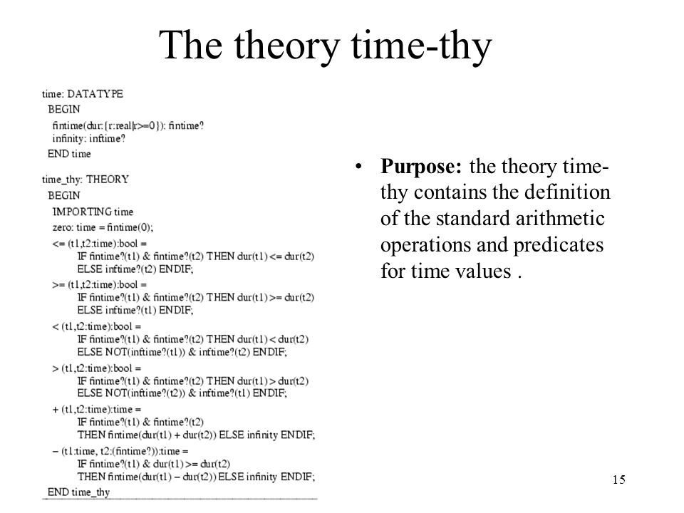 15 The theory time-thy Purpose: the theory time- thy contains the definition of the standard arithmetic operations and predicates for time values.