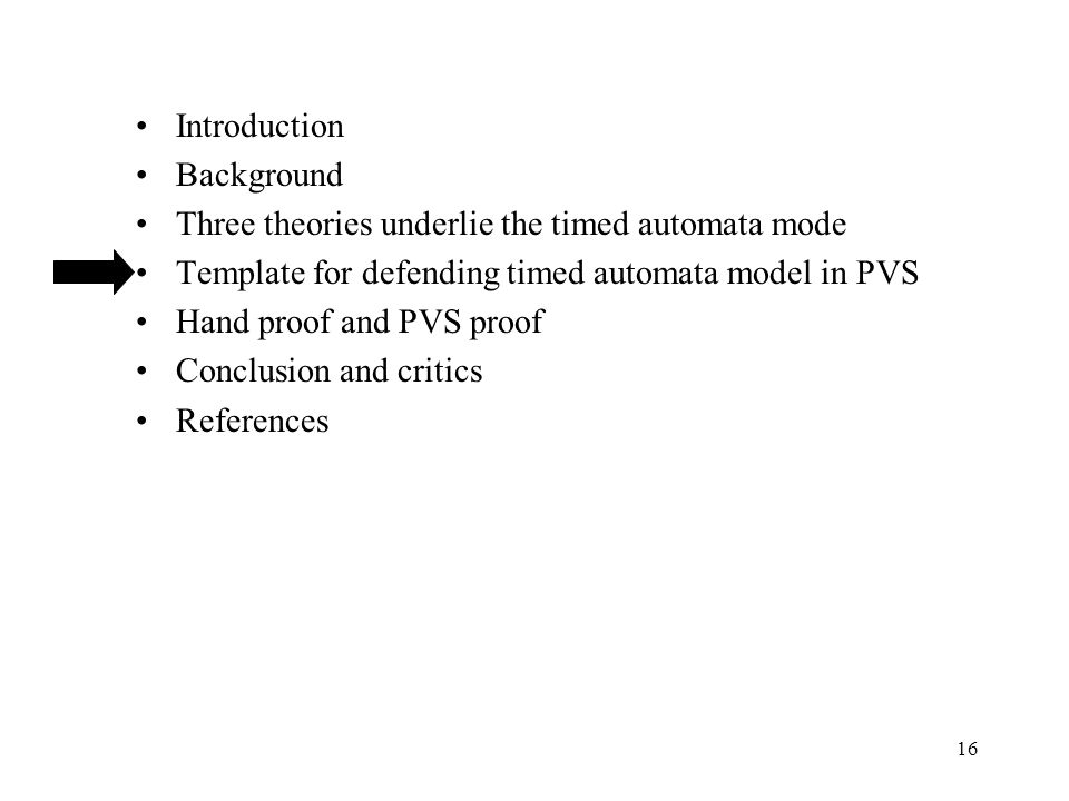 16 Introduction Background Three theories underlie the timed automata mode Template for defending timed automata model in PVS Hand proof and PVS proof Conclusion and critics References