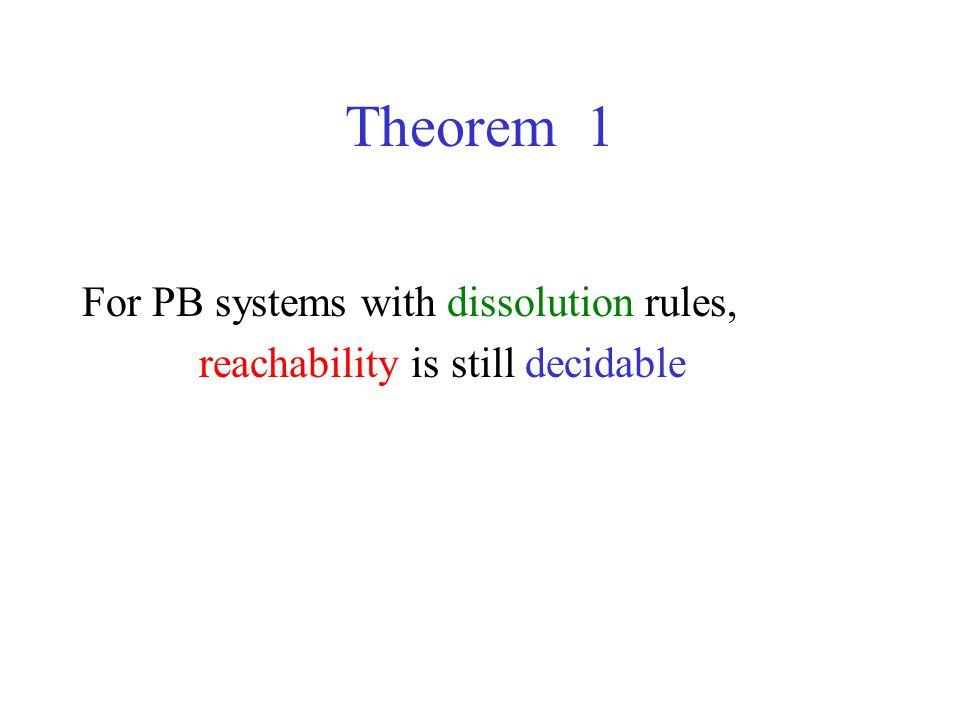 Theorem 1 For PB systems with dissolution rules, reachability is still decidable