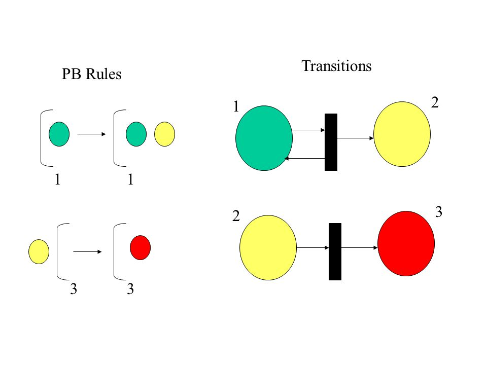 Computational Properties PB configuration = Petri net marking The asynchronous evolution of a PB system with symbol objects is simulated step by step by a firing sequence of the Petri net Properties like reachability and boundedness are reduced to the corresponding decision problems for Petri nets Reachability: is conf.