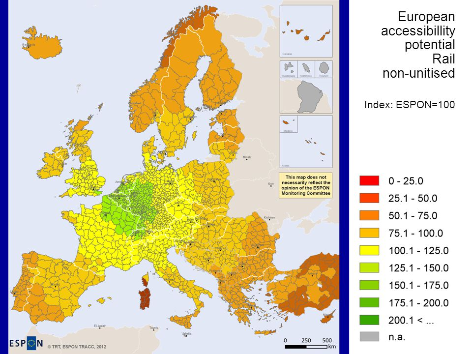 European accessibillity potential Rail non-unitised Index: ESPON=100