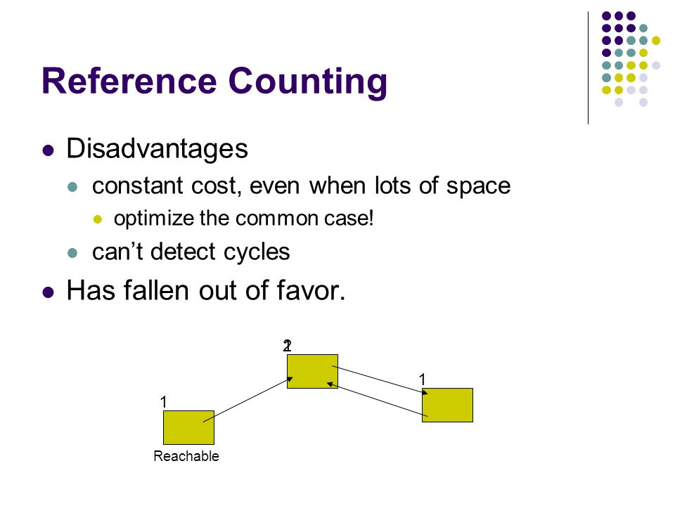 Trees Instead of counting references keep track of some top-level objects and trace out the reachable objects only clean up heap when out of space much better for low-memory programs Two major types of algorithm Mark and Sweep Copy Collectors